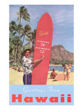 Greetings from Hawaii  Surfboard with Temperature