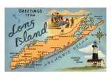 Greetings from Long Island  New York  Map