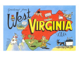 Greetings from West Virginia  Map  Cartoons