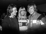 James Hunt with Barry Sheene and His Girlfriend Stephanie Mclean at Brands Hatch