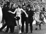 Streaker Male Nude Naked Man on Pitch at Twickenham Police Cover Him Up with Hat