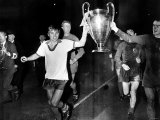 George Best Manchester United Parading the European Cup After Beating Benfica at Wembley Stadium