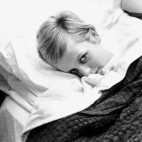 Twiggy Model at Seventeen Years Old at Home in Bed
