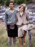 Prince and Princess of Wales at Bridge of Dee  Balmoral August 1981