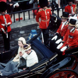 The Queen and Prince of Wales Drive Through Caernarvon After Investiture July 1969