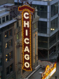 The Sign Outside the Chicago Theater at Dusk