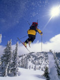 Skier in Mid Air at the Big Mountain Ski Area