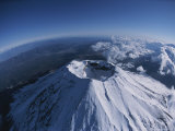 Aerial  Wide-Angle View of Mt Fuji's Crater