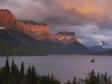 Dawn Strikes the Mountains Rising Above St Mary Lake