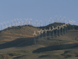 Rows of Spinning Wind Turbines Generate Electricity
