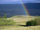 Rainbow Touches Down on a Plain After an Evening Rainstorm