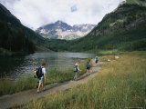 Group of Hikers in Front of the Maroon Bells  in Colorado