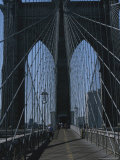 Lattice-Like Cables Rise Above Pedestrians on the Brooklyn Bridge
