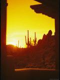 View Through a Hotel Window of a Desert Landscape at Sunset