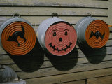 Painted Washtubs on the Side of a Rural House Celebrate Halloween