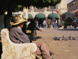 Mexican Man Sitting on a Bench in the Plaza Near the Town Cathedral