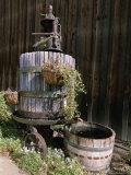 Oak Barrel and Grape Press Fountain at Harmony Winery