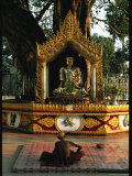 Buddhist Monk Meditating Near Altar with Buddha Statue and Gilt