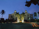 Twilight View of Building with Palm Trees in Cuba