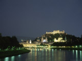 Night View of Salzburg and the Salzach River
