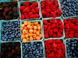 Raspberry  Blueberry and Blackberry Punnets at Farmers Market