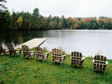 Adirondack Chairs in Row by Lake  Northeast Kingdom