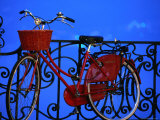Old Red Bicycle on the Shores of Lake Como at Dusk