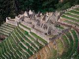 Terraced Ruins on Inca Trail  Huinay Huayna