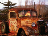 Rusty Old Truck Strung with Christmas Lights  with Santa Claus at Wheel