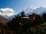 Tengboche Monastery in Front of Mt Everest  Lhotse  Nuptse and Ama Dablam