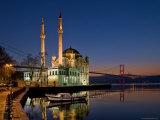 Ortakoy Mosque Looking Towards the Bosphorus Bridge  Seen in the Evening