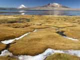 Lago Chungara with Volcan Sajama on the Left and the Cerros De Quisiquisine in Front