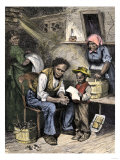 African-American Boy Reading to His Family of Former Slaves  1870s
