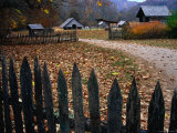 Picket Fence of Early Farm Buildings in Autumn