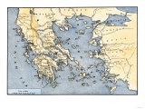Carte de la Grèce antique et ses colonies Giclée