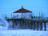 Waves Breaking into the Pier at Manhattan Beach