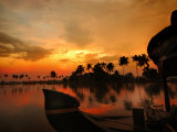 Cruise Boat Bow on Kerala's Backwaters at Sunset