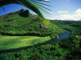 Overlooking the Wailua River and as it Winds Past a Hill