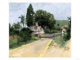 Jamaican Plantation Houses from a Roadside  1880s
