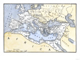 Map Showing the Extent of the Roman Empire Giclée
