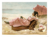 Young Woman Relaxing on the Beach  1890s