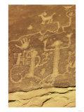 Anasazi Ancestral Puebloan Petroglyphs of Whipping Kachinas at Mesa Verde National Park