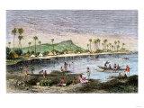 Diamond Head and Waikiki in the Hawaiian Islands  1870s