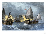 William Claiborne and Leonard Calvert in Battle  the First Naval Conflict on Chesapeake Bay  1630s