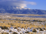 Snow on the Sandia Mountains and High Plains Near Albuquerque  New Mexico
