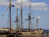 Replica of the Jamestown Colonists' Ship Godspeed on Display in Yorktown Harbor  Virginia