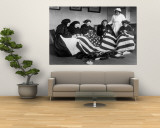 Patriotic Old Female Immigrants Sewing an American Flag under Supervision of Instructor Rose Radin