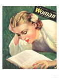 Woman, People Reading Books, Women Magazine, UK, 1942 Giclée
