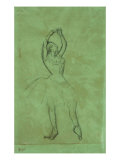 Dancer with Raised Arms  Danseuse Aux Bras Leves Pencil on Tracing Paper Laid Down on Green Board