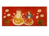 Brahma Seated with Saraswati Brahma Holding Four Vedas and Saraswai Clutching Lotus Petal  c1650